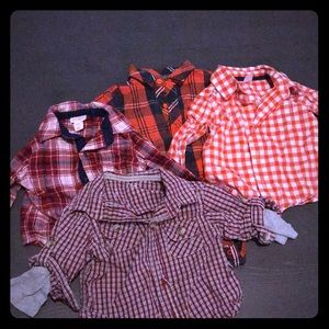 Other - Lot of 4 Plaid Long Sleeve Shirts 6-9 months